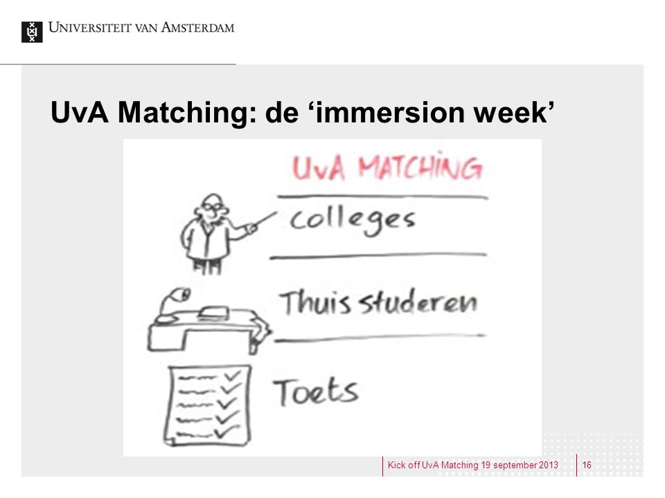 UvA Matching: de 'immersion week'