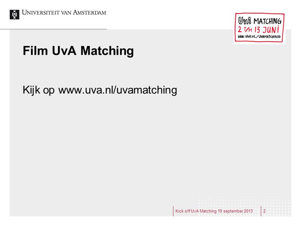 Film UvA Matching Kijk op www.uva.nl/uvamatching
