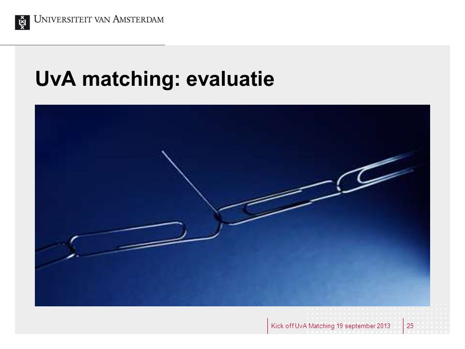 UvA matching: evaluatie