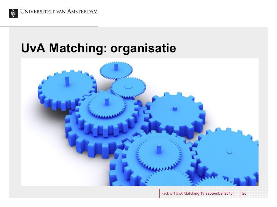 UvA Matching: organisatie