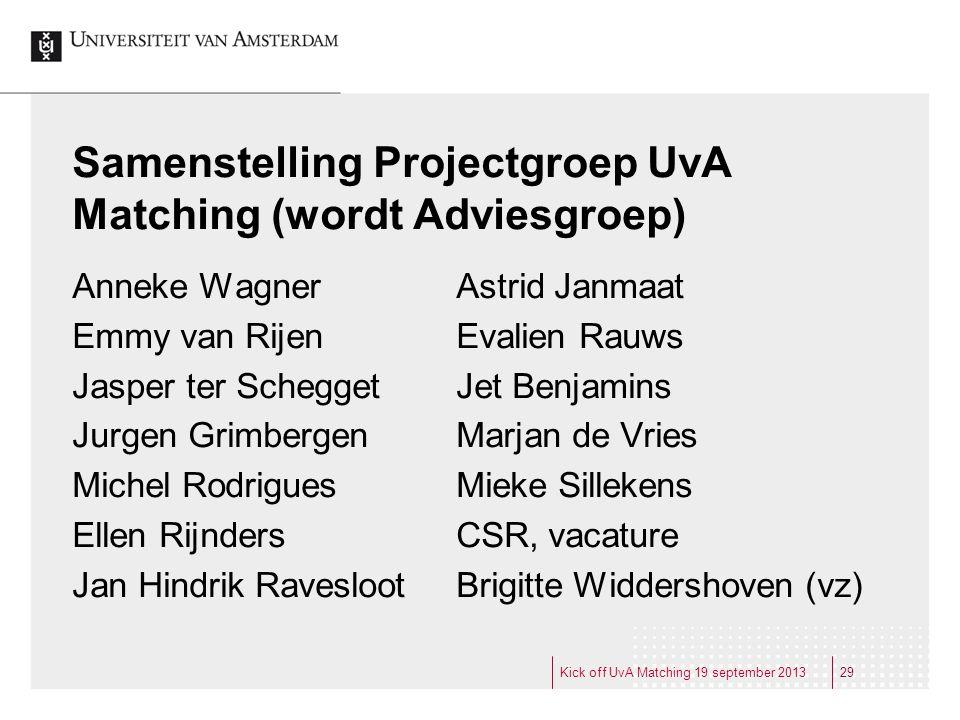 Samenstelling Projectgroep UvA Matching (wordt Adviesgroep)