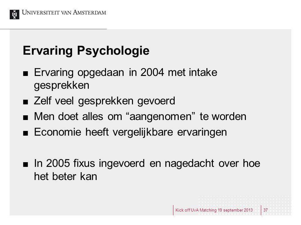 Ervaring Psychologie Ervaring opgedaan in 2004 met intake gesprekken