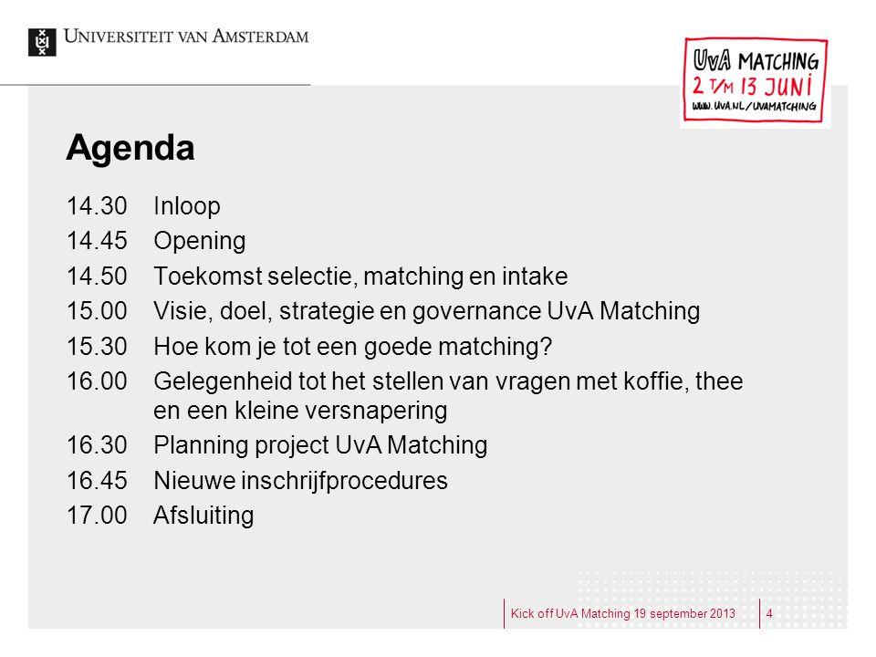 Agenda 14.30 Inloop. 14.45 Opening. 14.50 Toekomst selectie, matching en intake. 15.00 Visie, doel, strategie en governance UvA Matching.
