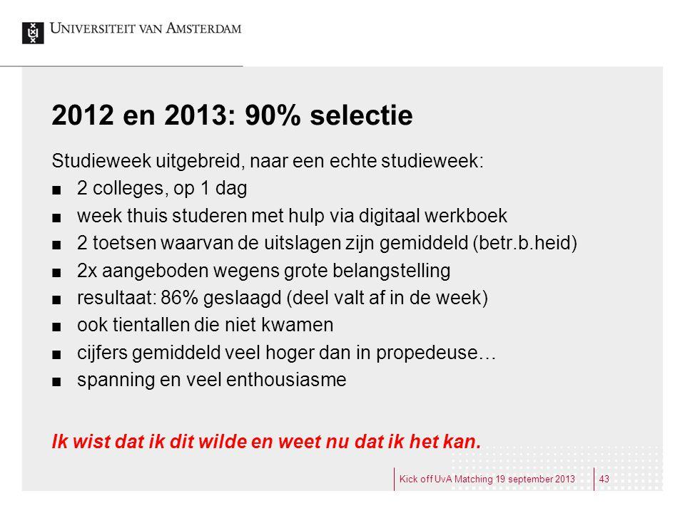 2012 en 2013: 90% selectie Studieweek uitgebreid, naar een echte studieweek: 2 colleges, op 1 dag.