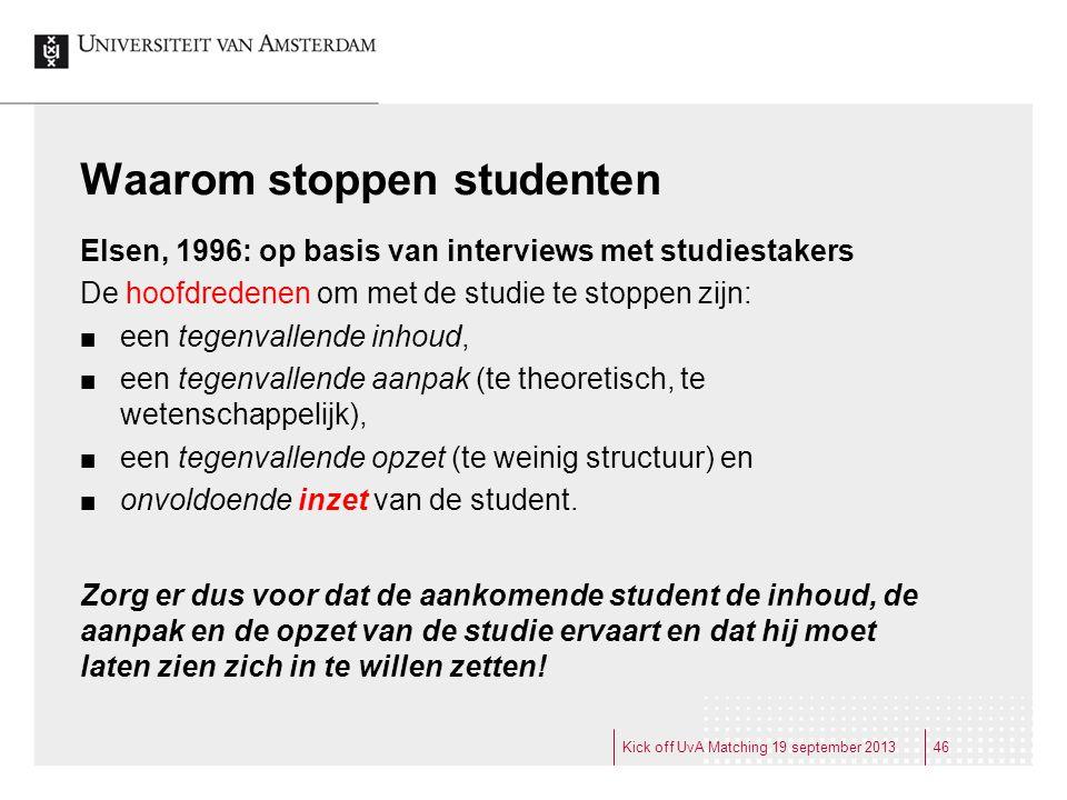 Waarom stoppen studenten
