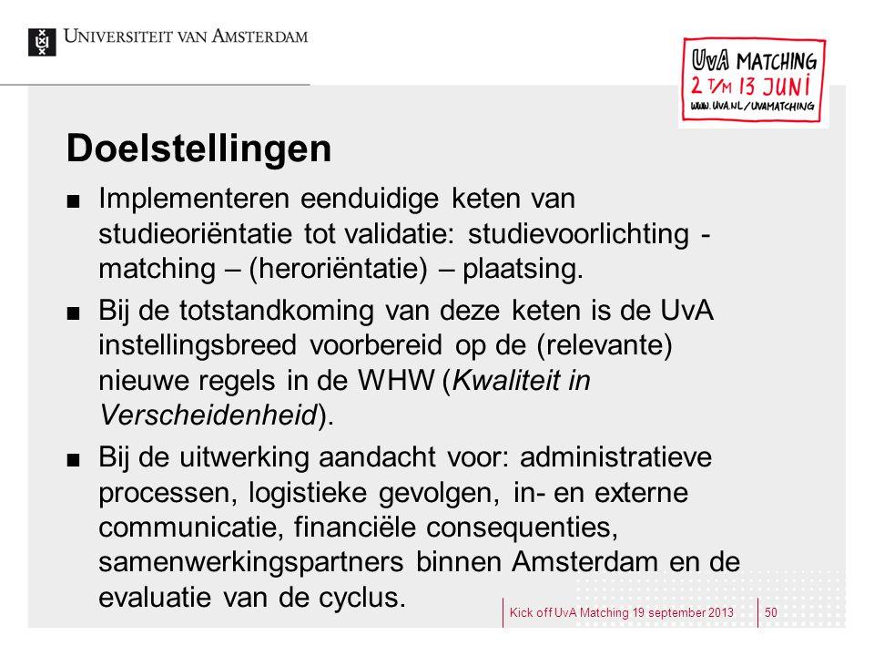 Doelstellingen Implementeren eenduidige keten van studieoriëntatie tot validatie: studievoorlichting - matching – (heroriëntatie) – plaatsing.