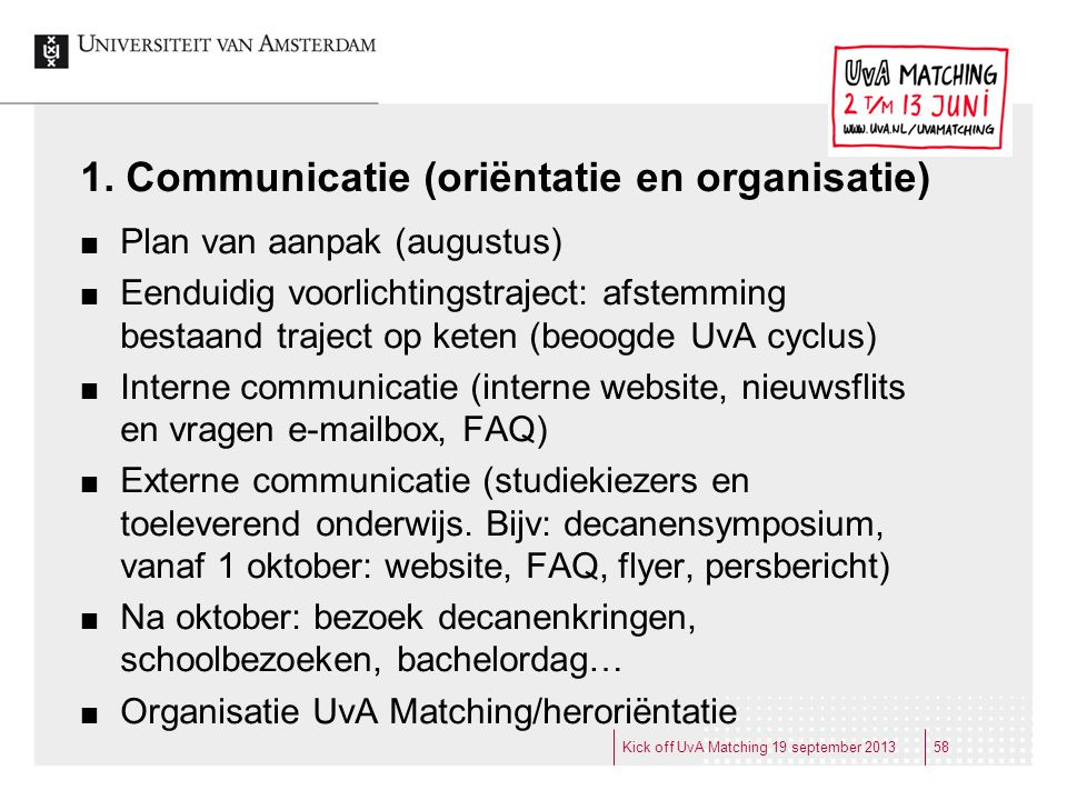 1. Communicatie (oriëntatie en organisatie)