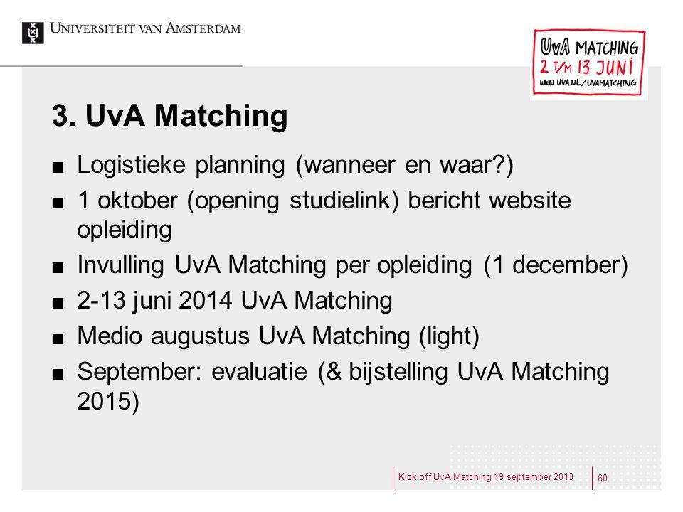 3. UvA Matching Logistieke planning (wanneer en waar )