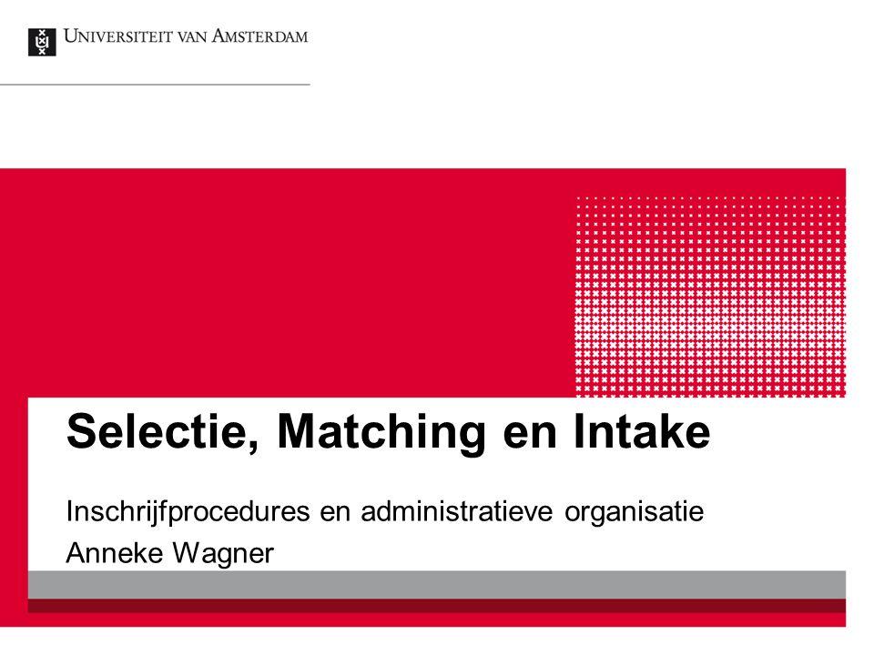 Selectie, Matching en Intake