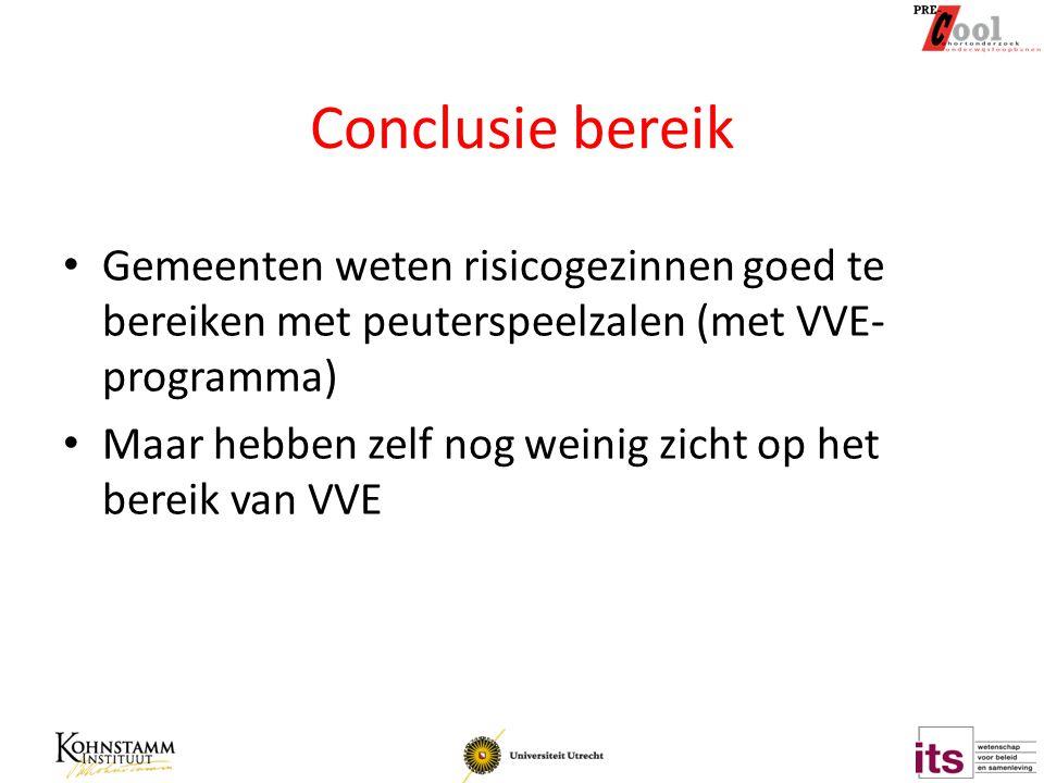 Conclusie bereik Gemeenten weten risicogezinnen goed te bereiken met peuterspeelzalen (met VVE-programma)