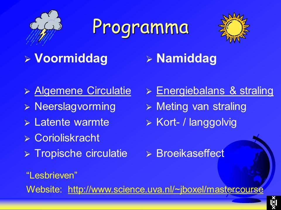Programma Voormiddag Namiddag Algemene Circulatie Neerslagvorming