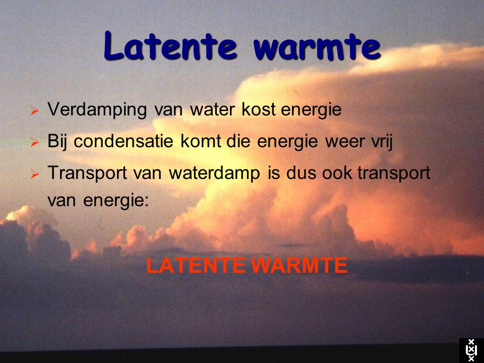 Latente warmte Verdamping van water kost energie
