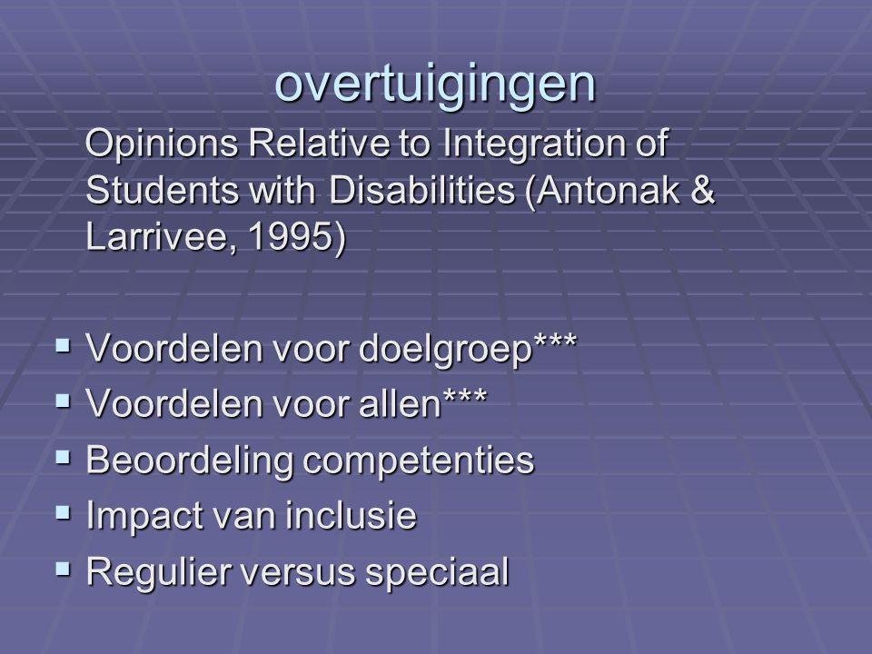 overtuigingen Opinions Relative to Integration of Students with Disabilities (Antonak & Larrivee, 1995)