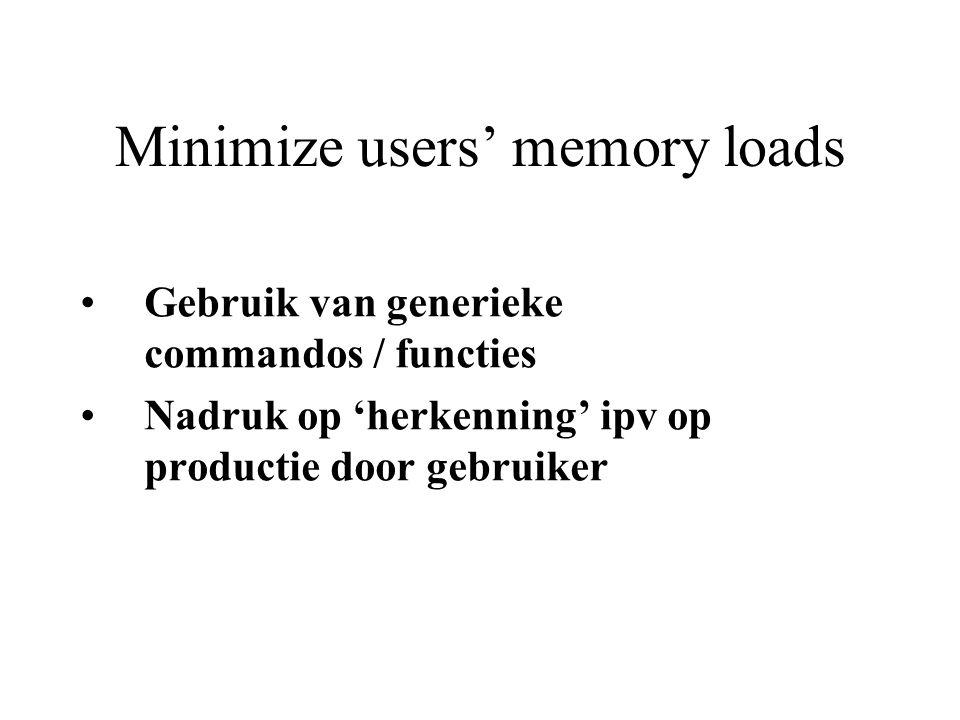 Minimize users' memory loads