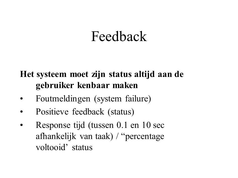 Feedback Het systeem moet zijn status altijd aan de gebruiker kenbaar maken. Foutmeldingen (system failure)