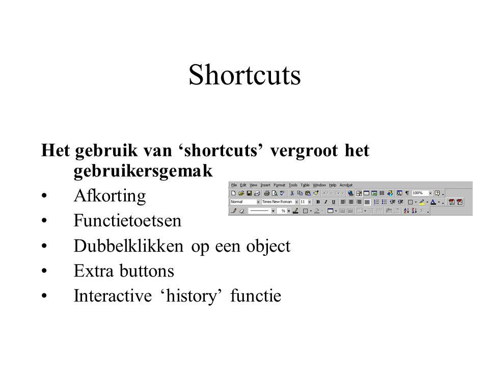 Shortcuts Het gebruik van 'shortcuts' vergroot het gebruikersgemak