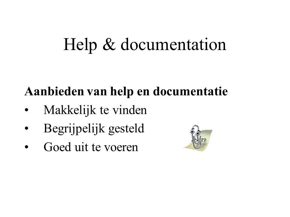 Help & documentation Aanbieden van help en documentatie