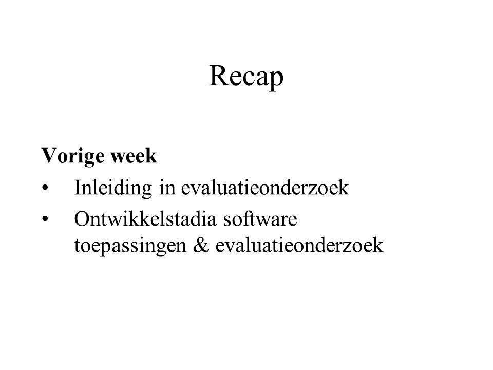 Recap Vorige week Inleiding in evaluatieonderzoek
