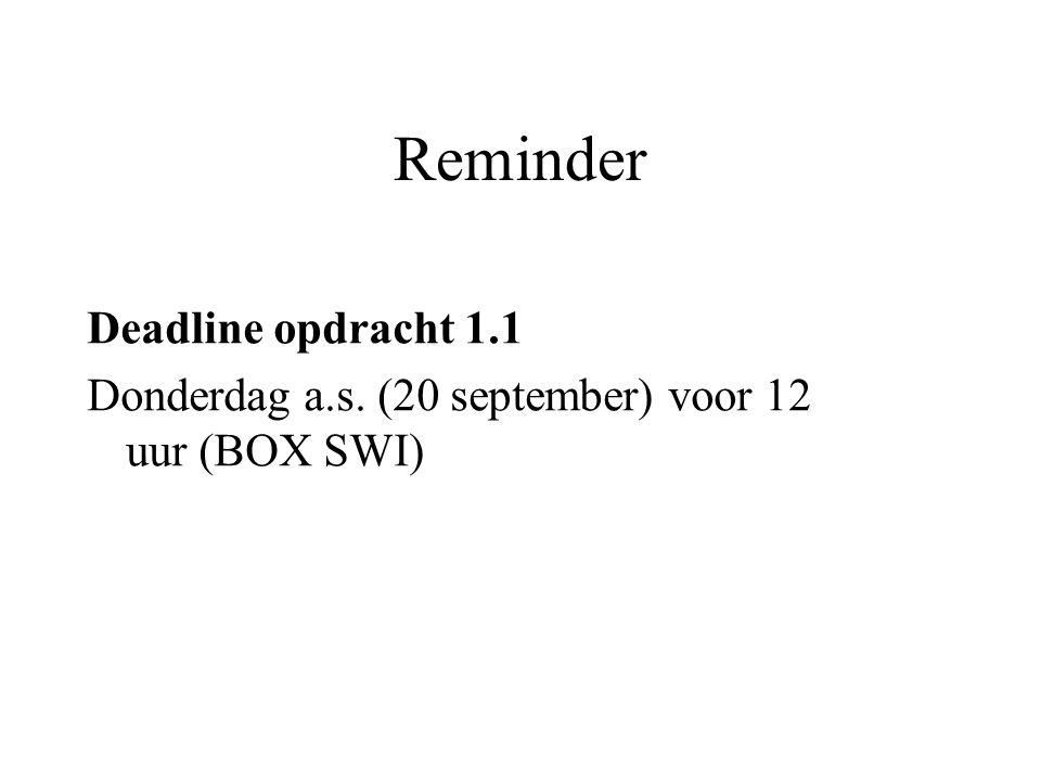 Reminder Deadline opdracht 1.1