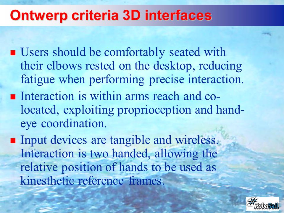 Ontwerp criteria 3D interfaces