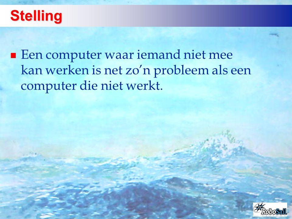 Stelling Een computer waar iemand niet mee kan werken is net zo'n probleem als een computer die niet werkt.