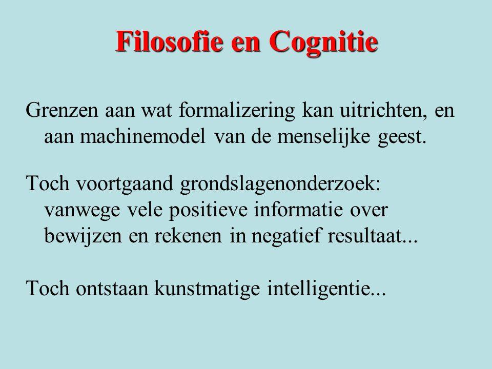 Filosofie en Cognitie Grenzen aan wat formalizering kan uitrichten, en aan machinemodel van de menselijke geest.