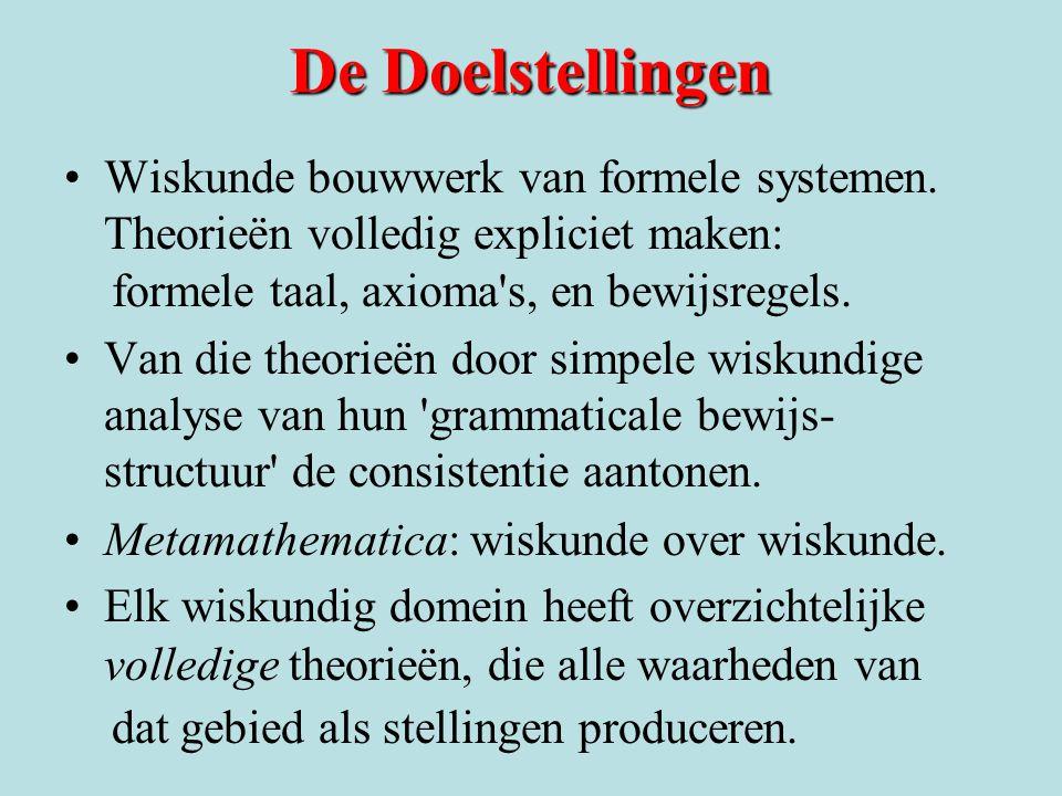 De Doelstellingen Wiskunde bouwwerk van formele systemen. Theorieën volledig expliciet maken: formele taal, axioma s, en bewijsregels.