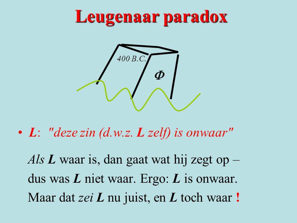 Leugenaar paradox F L: deze zin (d.w.z. L zelf) is onwaar