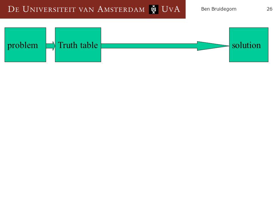 Ben Bruidegom problem Truth table solution