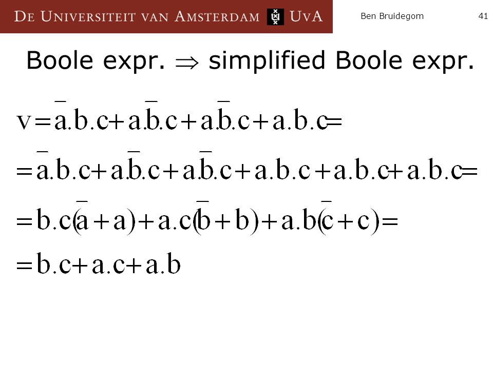 Boole expr.  simplified Boole expr.