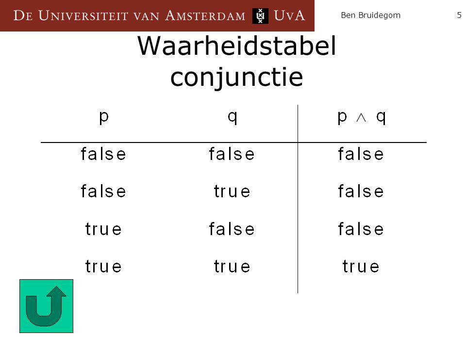 Waarheidstabel conjunctie