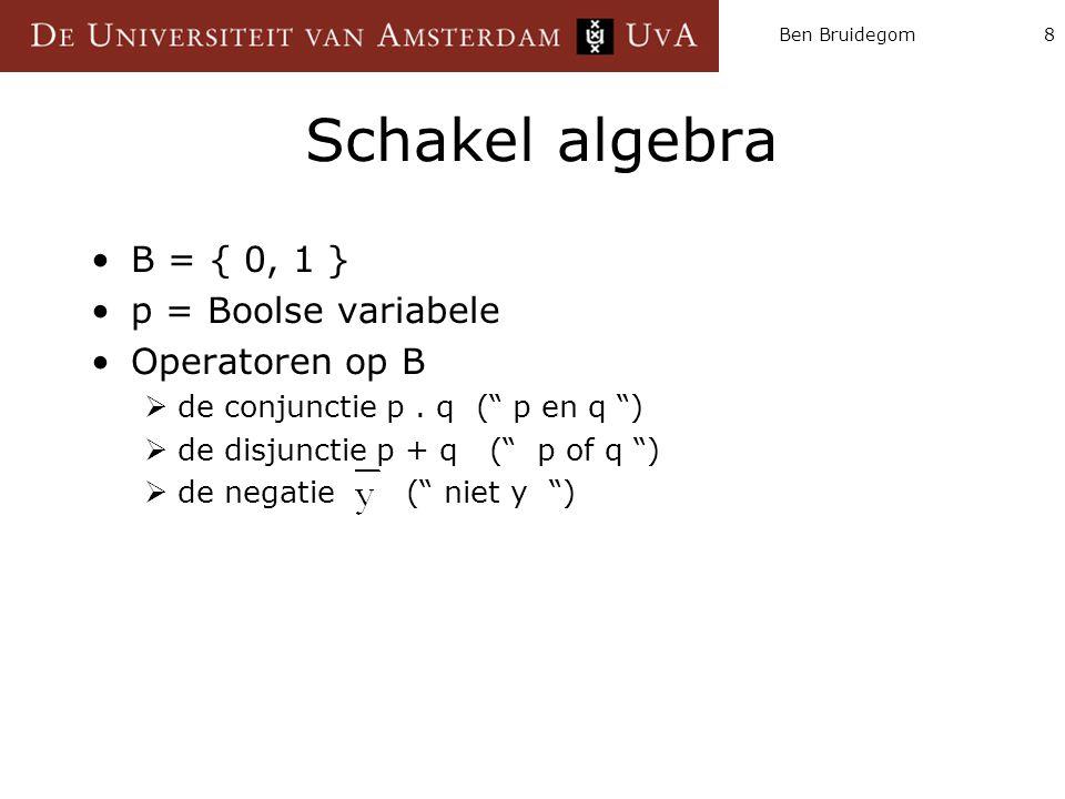 Schakel algebra B = { 0, 1 } p = Boolse variabele Operatoren op B