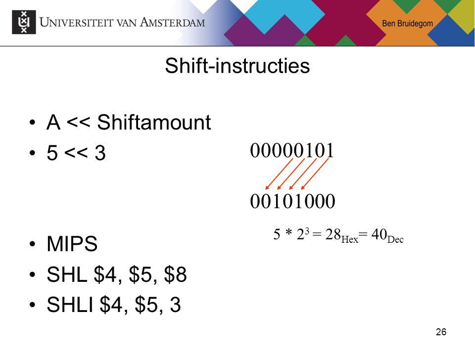 A << Shiftamount 5 << 3
