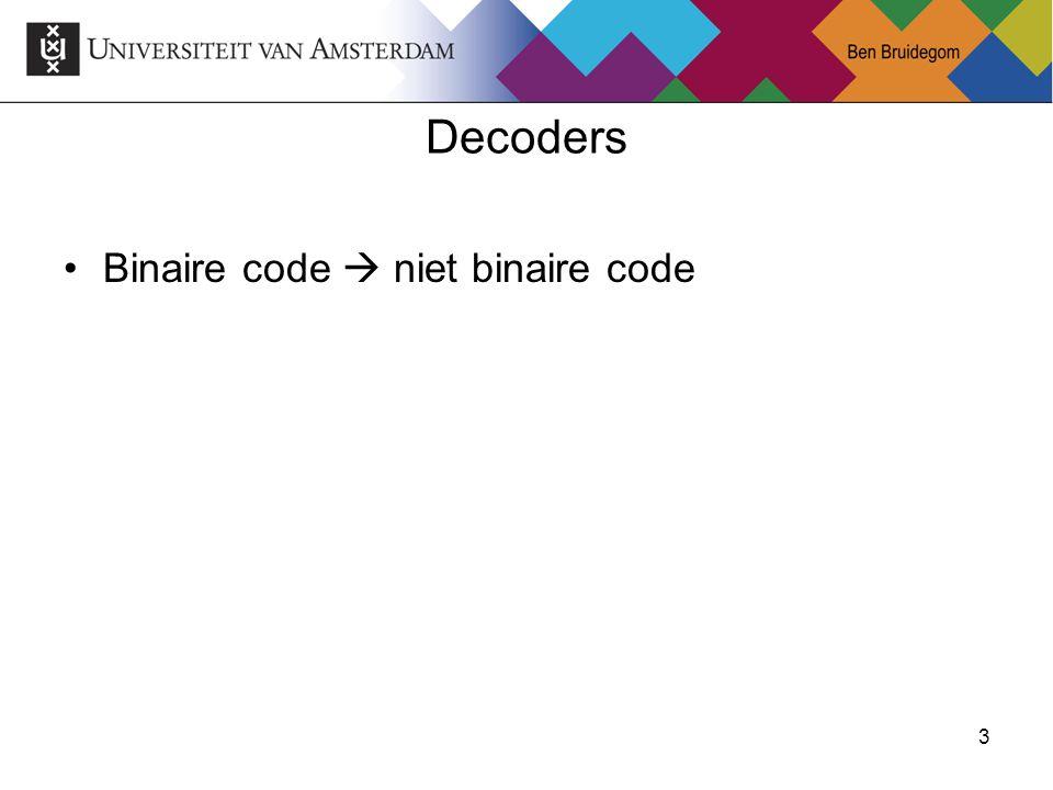 Decoders Binaire code  niet binaire code