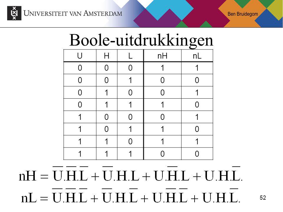 Boole-uitdrukkingen U H L nH nL 1