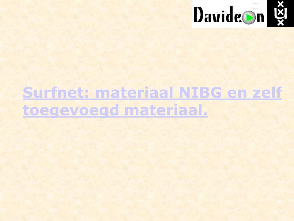 Surfnet: materiaal NIBG en zelf toegevoegd materiaal.