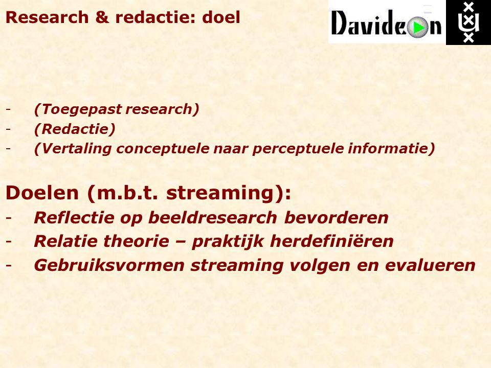 Research & redactie: doel