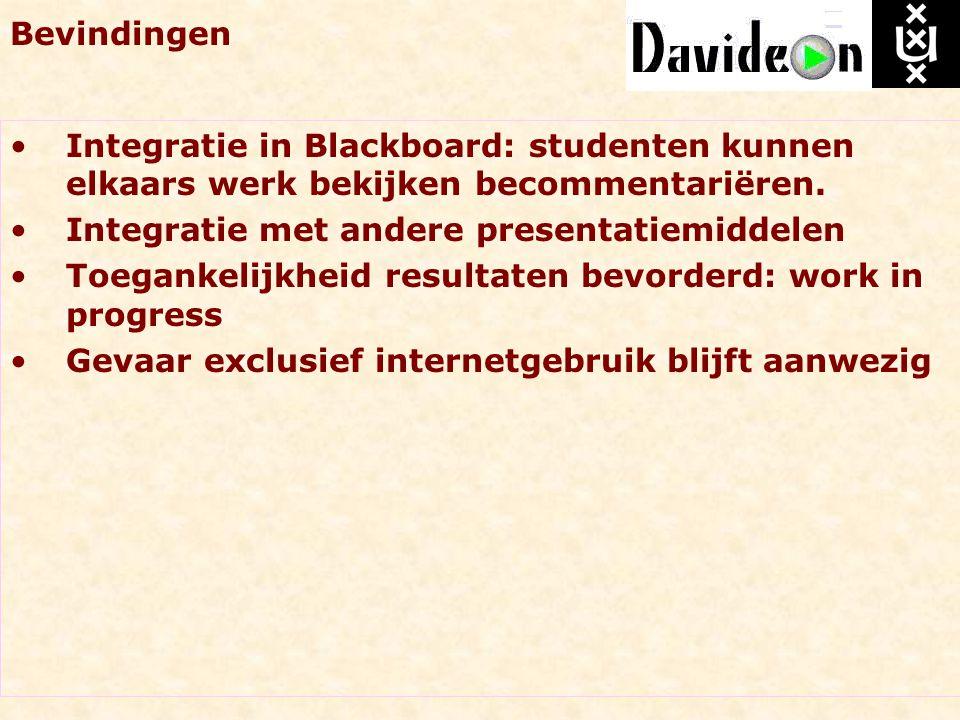 Bevindingen Integratie in Blackboard: studenten kunnen elkaars werk bekijken becommentariëren. Integratie met andere presentatiemiddelen.