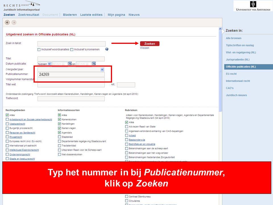 Typ het nummer in bij Publicatienummer, klik op Zoeken
