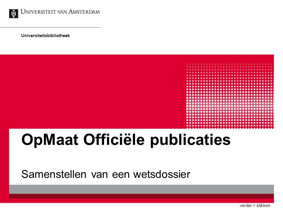 OpMaat Officiële publicaties