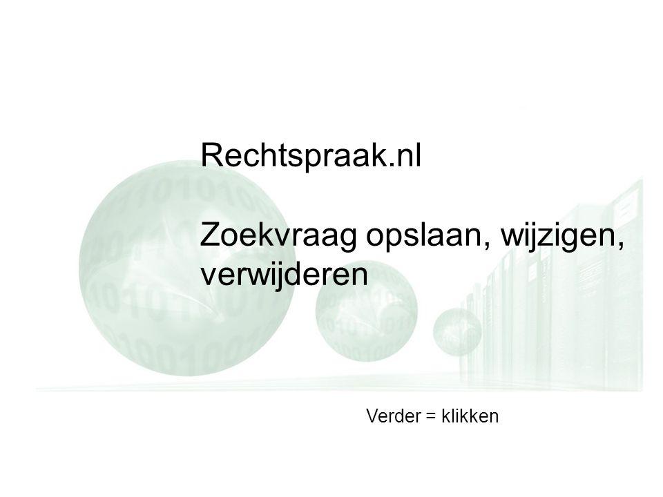 Rechtspraak.nl Zoekvraag opslaan, wijzigen, verwijderen