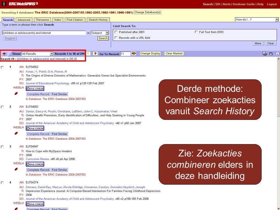 Combineer zoekacties vanuit Search History