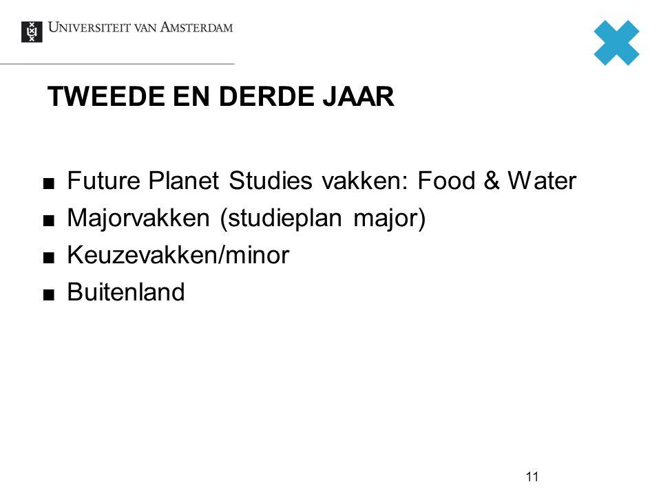 TWEEDE EN DERDE JAAR Future Planet Studies vakken: Food & Water