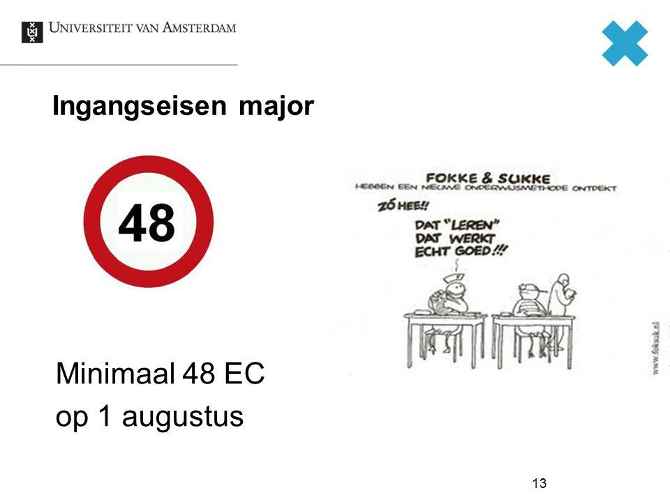 Ingangseisen major Minimaal 48 EC op 1 augustus Check!