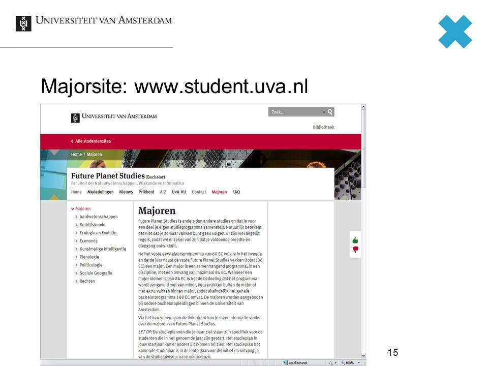 Majorsite: www.student.uva.nl