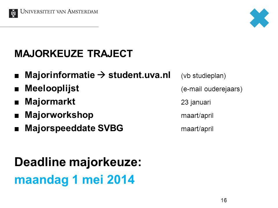 Deadline majorkeuze: maandag 1 mei 2014 MAJORKEUZE TRAJECT