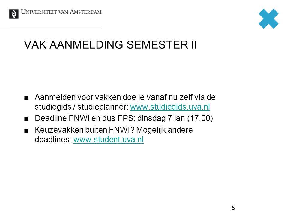 VAK AANMELDING SEMESTER II