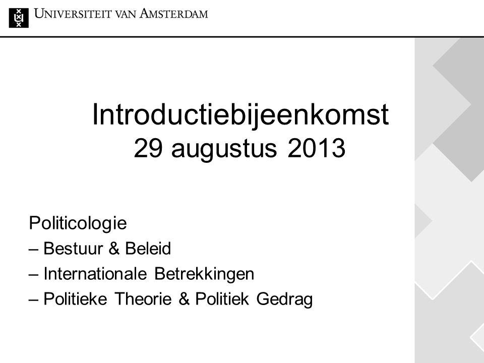 Introductiebijeenkomst 29 augustus 2013