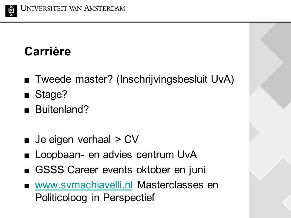Carrière Tweede master (Inschrijvingsbesluit UvA) Stage Buitenland