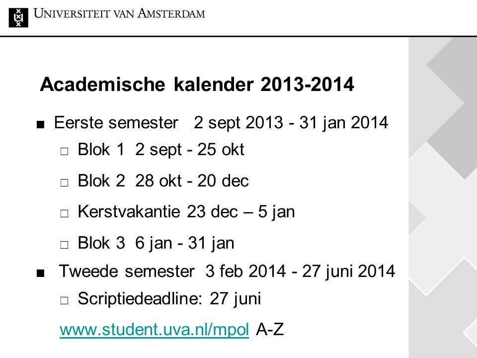 Academische kalender 2013-2014